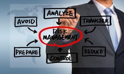 risk management flow chart concept handwritten by businessman